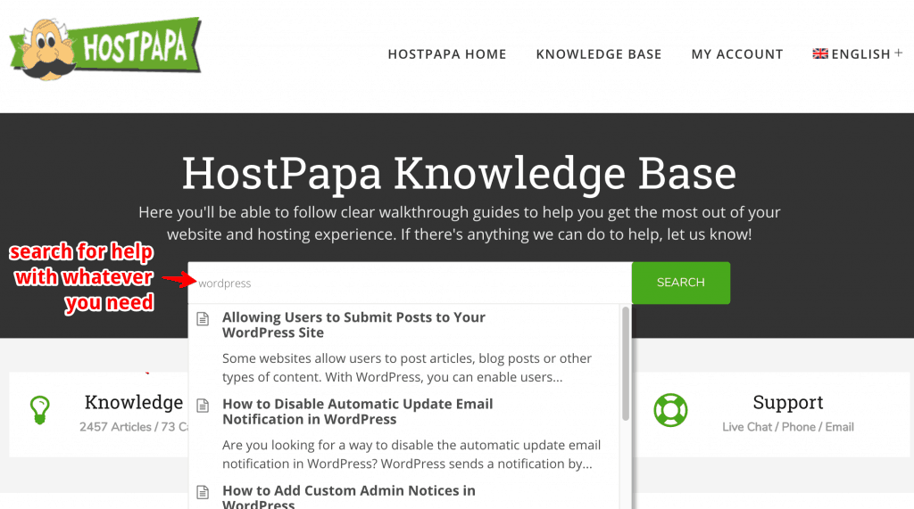 hostpapa knowledge base