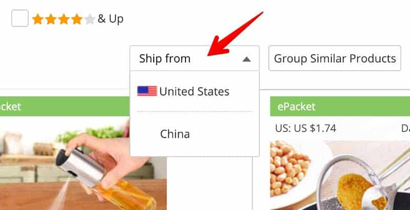 aliexpress ship from menu