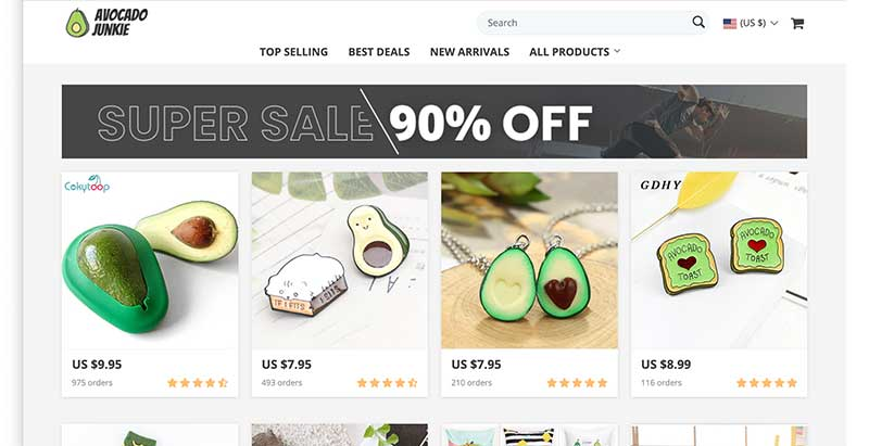 avocado dropshipping store